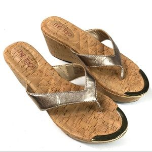 Me Too Gold Cork Slip-on Wedge Sandals Size 8M